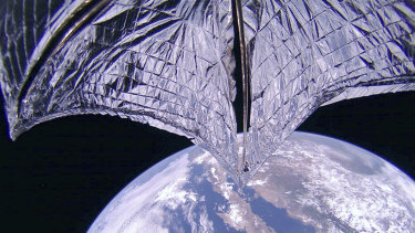 The LightSail2 spacecraft successfully deployed its sale, top, above Baja California, Mexico.