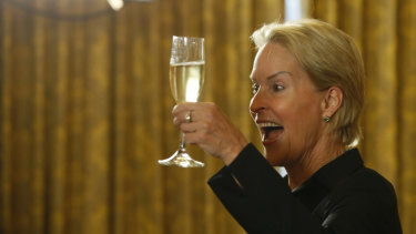 Nobel chemistry winner Frances Arnold toasts at the California Institute of Technology in Pasadena.