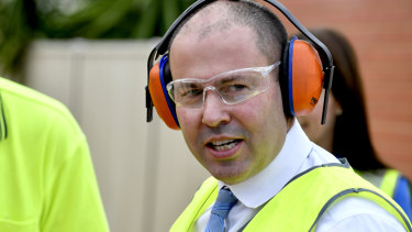 Treasurer Frydenberg out spruiking his budget on Tuesday.