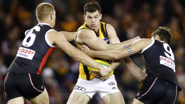 Test of time: Jaeger O'Meara in action for the Hawks.