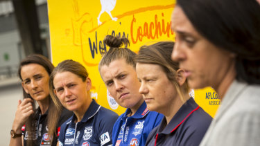 Looking to the future: Assistant coaches listen to AFLW head of football Nicole Livingstone speak.