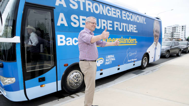 On the road: Prime Minister Scott Morrison is travelling Queensland by bus - and plane.