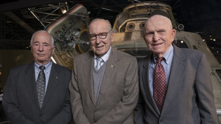 Apollo 8 astronauts, from left, William Anders, James Lovell, Frank Borman in 2018.