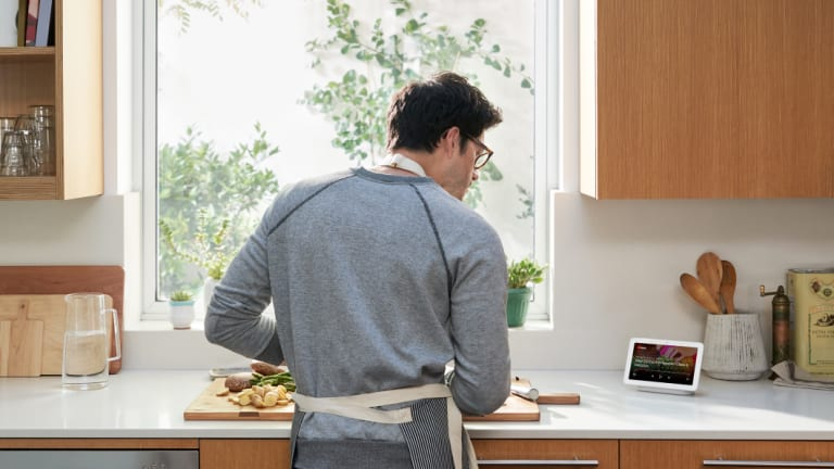 Google Home Hub can display YouTube videos and step-by-step recipes.