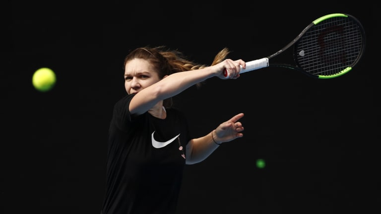 Simona Halep having a hit at Melbourne Park ahead of the Open.