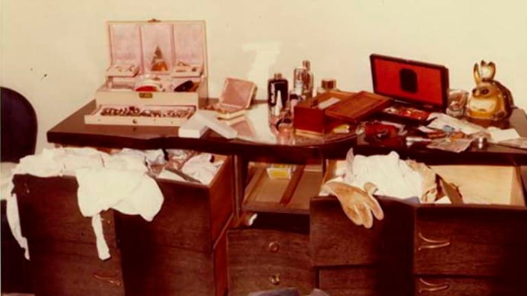 "An undated photo of the result of a home invasion and ransacking by an attacker who became known as the ""East Area Rapist"" in California."