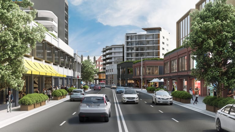 An artist's impression of what a proposed revitalisation of the Parramatta Road corridor would look like.