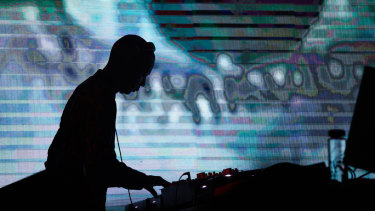 Jeff Mills DJing his compositions at the Melbourne Music Week hub on Saturday night.