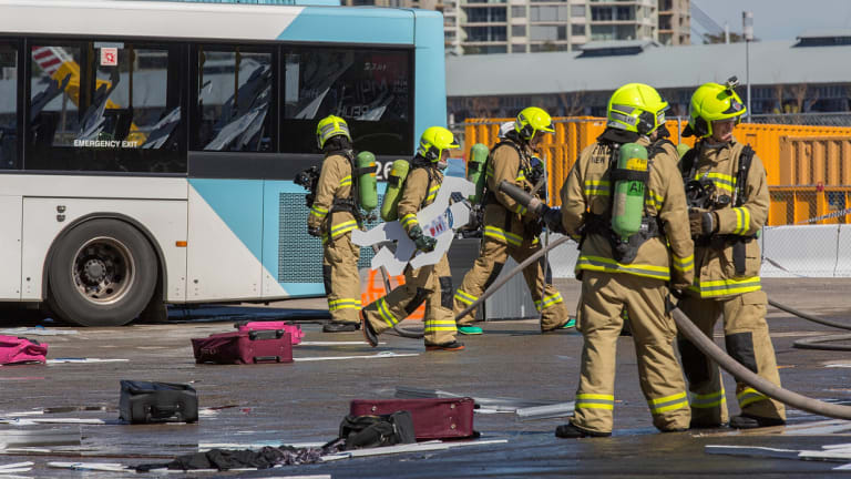 An emergency exercise, such as this one from 2016, will be conducted at Sydney Airport from midday.