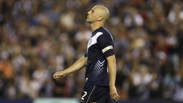 Spot of bother:  Kevin Muscat of the Victory after missing his chance during penalty shootout in the A-League grand final between Melbourne Victory and Sydney FC at Etihad Stadium on March 20, 2010.