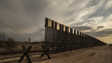 The US-Mexico border fence under construction near the Santa Teresa border crossing in El Paso, Texas, in June.