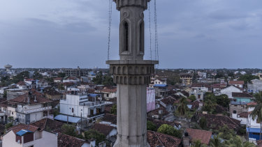 The minaret of the mosque where the accused mastermind of Easter Sunday attacks worshipped.