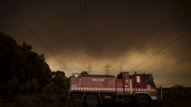 The bushfire burning through the Bunyip State forest as seen from Tynong North Road on Saturday afternoon.