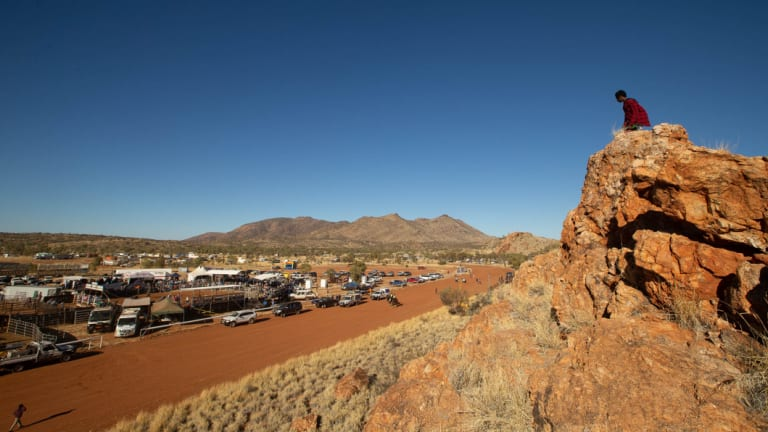 The race track and rodeo arena is seen from the natural amphitheatre during the 71st annual Harts Range Races and Rodeo, approximately 215km east of Alice Springs.