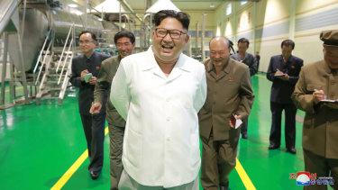 Kim Jong-un visits a factory in Samjiyon County, North Korea, this week, according to state media.