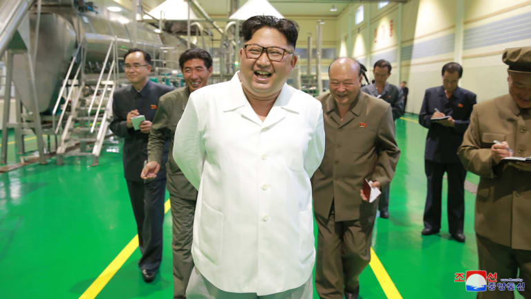 Kim Jong-un visits a factory in Samjiyon County, North Korea, this week, according to state media.