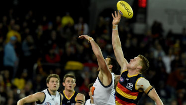 On tap: Adelaide's Reilly O'Brien flies up in a contest during the round 12 win over the Giants.