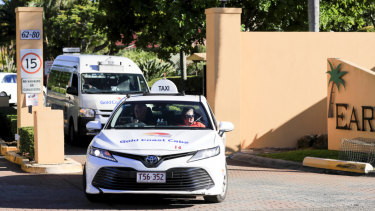 Taxis leave the Earle Haven nursing home following its closure in July.