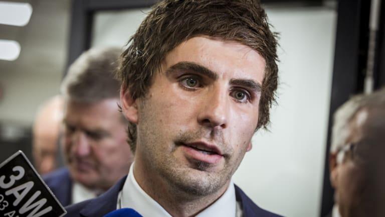 Andrew Gaff leaving the AFL tribunal last week.