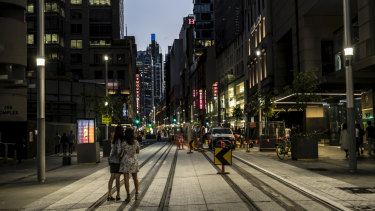 George Street, Sydney, on Friday night.