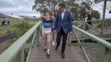 Premier Daniel Andrews and his family tour the Seaford Wetlands Park.