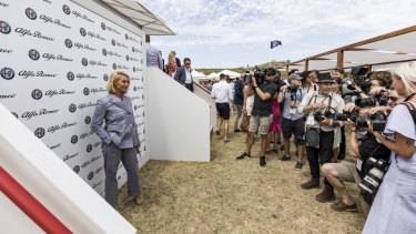 Actor Asher Keddie arrives at the Alfa Romeo marquee at the Portsea Polo.