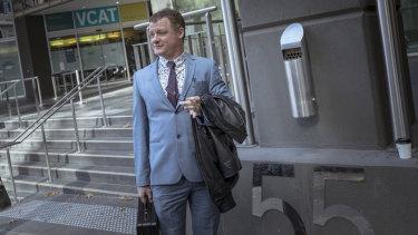 United Patriots Front founding member Chris Shortis leaves VCAT on Monday.
