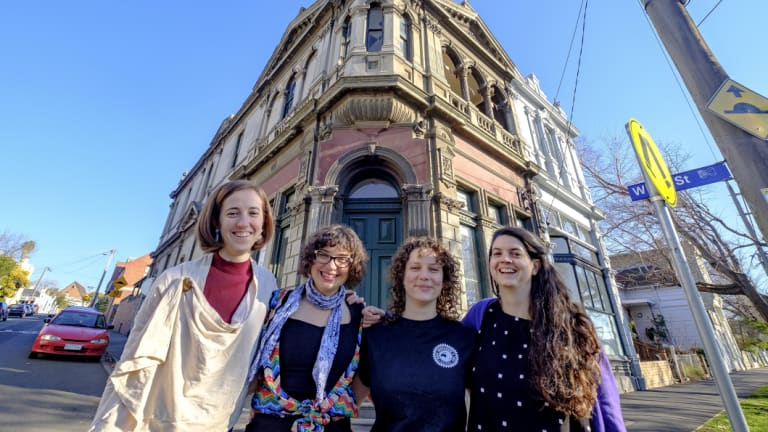 It's got a turret: (left to right) Sophie Jordan, Rachel Deans, Ruthi Hambling and Julia Earley at their share house 'Islington' in Kensington, part of Open House Melbourne.