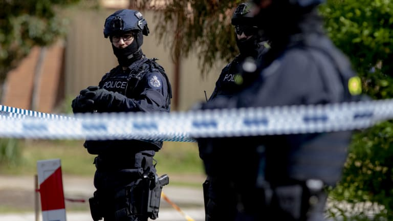 Police on Saturday raided the home of Hassan Khalif Shire Ali's parents in Werribee, along with another property in Meadow Heights.