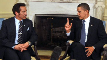 United States President Barack Obama, right, meets with President Ian Khama of Botswana, left, in the Oval Office of the White House in Washington in  2009.