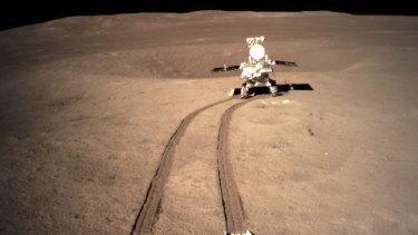China's lunar rover leaves wheel marks after leaving the lander that touched down on the surface of the far side of the moon.
