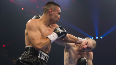 Tim Tszyu (left) goes toe-to-toe with Joel Camilleri in May.