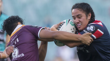 """Tazmin Gray was """"thrown in the deep end"""" - growing up play footy against her brother and Raiders winger Jordan Rapana."""