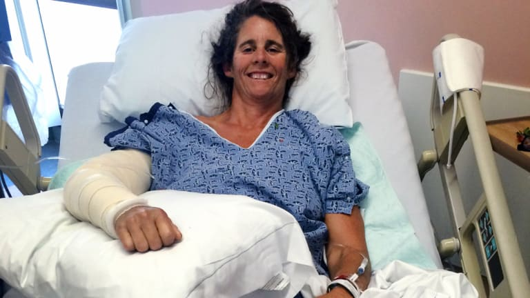Maria Korcsmaros in hospital after a shark attack in June 2016.