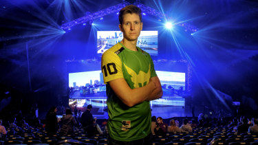 Scott 'Custa' Kennedy at the Melbourne Esports Open at Melbourne Park. He says he has started getting noticed more in the street as e-sports popularity grows.