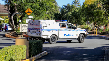 Police are seen at Earle Haven last week.