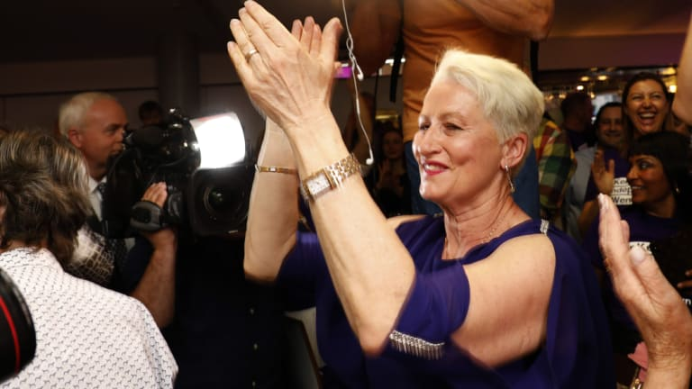 Independent candidate for Wentworth Kerryn Phelps is congratulated by supporters.