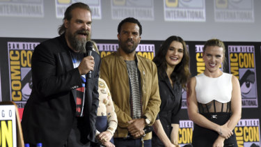 David Harbour, O. T. Fagbenle, Rachel Weisz and Scarlett Johansson participate during the Black Widow portion of Comic-con panel.