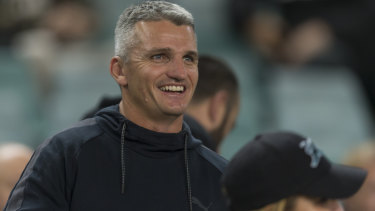 Moral support: Ivan Cleary enjoys the atmosphere before kick-off against the Sharks.