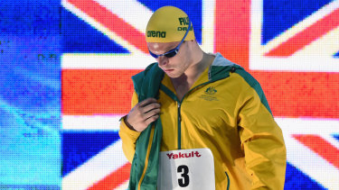 Focused: Kyle Chalmers walks onto the pool deck before winning the men's 100m freestyle final at the Pan Pacs.