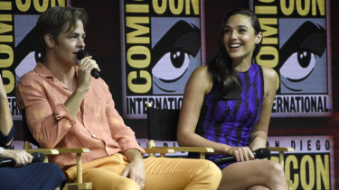 Wonder Woman 1984 stars Gal Gadot (right) and Chris Pine at last year's Comic-Con.