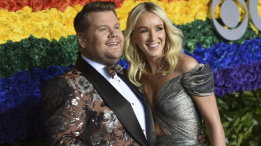 Red card to red carpet ... James Corden in Dolce (with Julia Carey) at the Tony Awards.