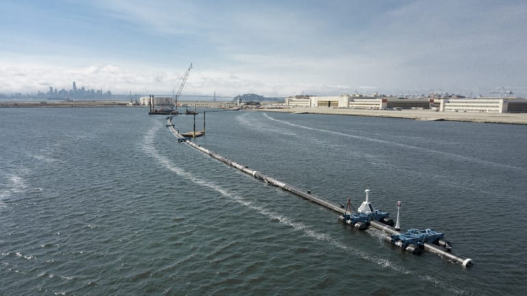 Ocean cleansing, long floating boom that will be used for coastal plastic waste in the Pacific Ocean, will be collected in Elmada, California.
