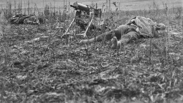 Men lie dead at Montbrehain, scene of the last battle involving Australian infantry on the Western Front.