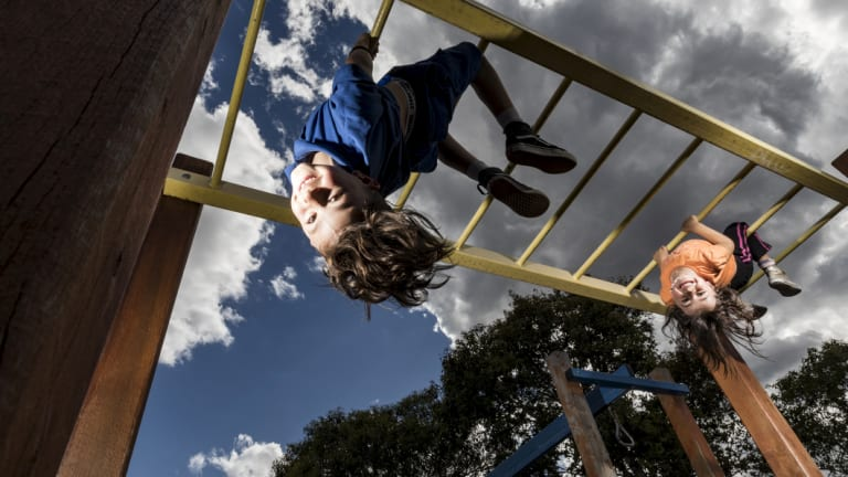 Arlo (8) and Mina (4) love the monkey bars at their local park in Footscray.