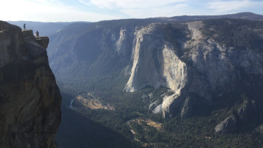 In this September photo, an unidentified couple gets married at Taft Point in California's Yosemite National Park.