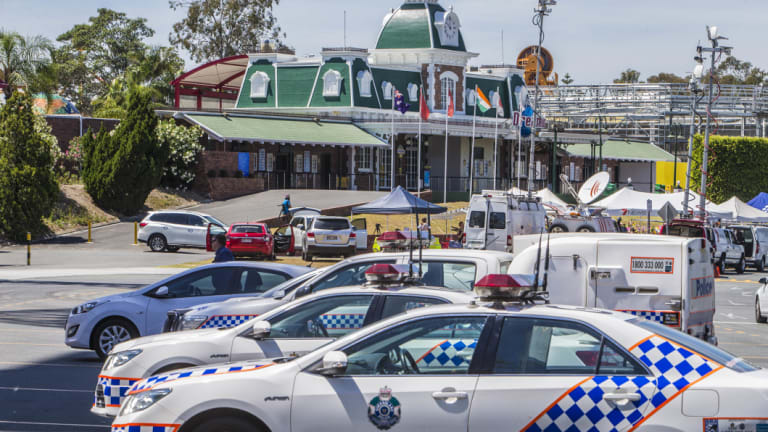 Police cars outside Dreamworld in October 2016, after the tragedy.