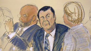 In this courtroom sketch El Chapo, centre, sits next to his defence attorney Eduardo Balarezo, left, for opening statements on the first day of his trial.