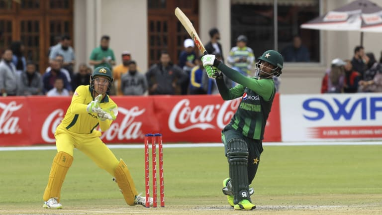 Over the top: Pakistan's Fakhar Zaman hits out during an explosive innings.