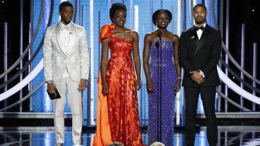 Fashion force ... the cast of 'Black Panther' (from left) Chadwick Boseman, Danai Gurira, Lupita Nyong'o and Michael B. Jordan.